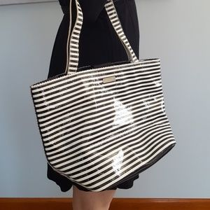 Kate Spade Tote with Black and White Strip Pattern